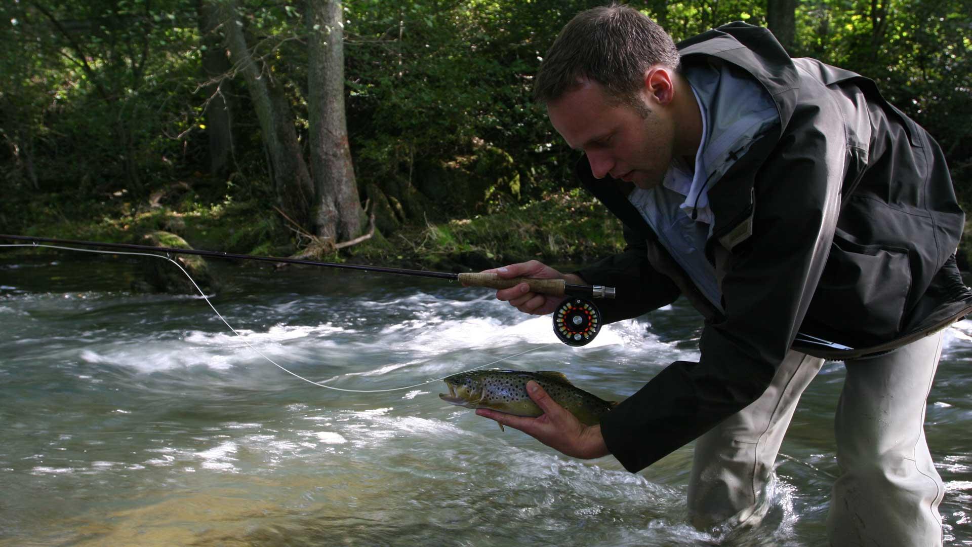 Fliegenfisch an der Wenne, ein Angler mit Fisch