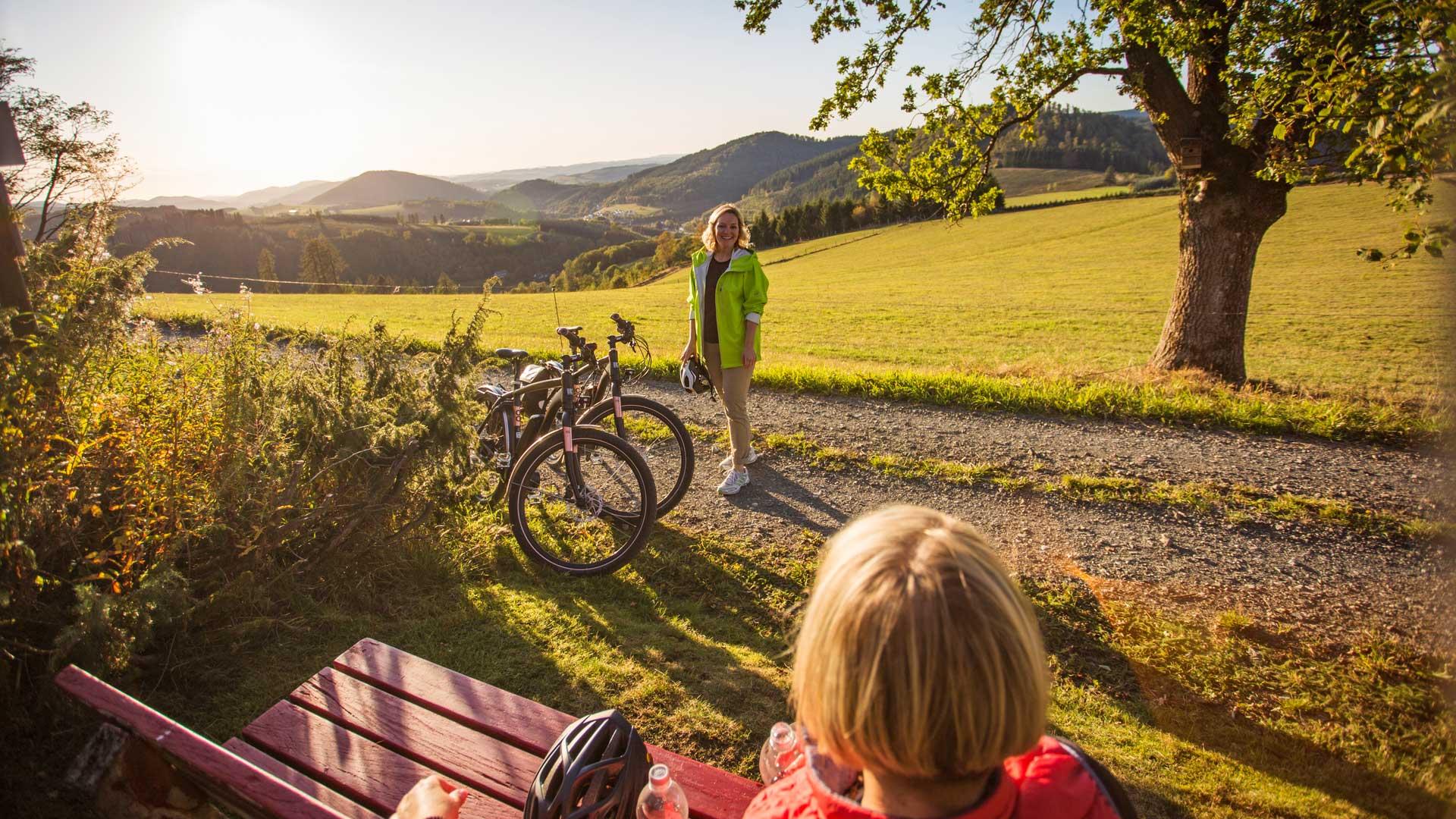 Radfahrer-Pause